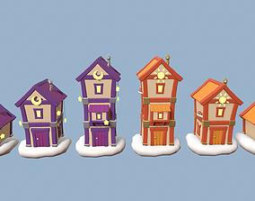 Cartoon Houses Sun and Moon 3D model