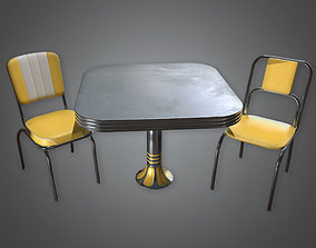 Retro Table and Chairs 02 Midcentury Collection 3D model 2