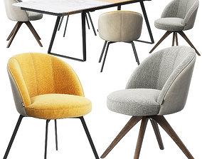 Rolf Benz 629 chair set 3D model