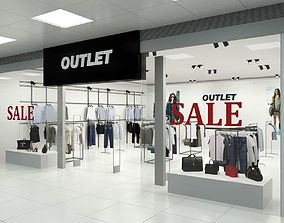 3D Fashion Store Outlet interior scene Render Ready
