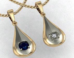 pendant in the form of a drop 3D print model