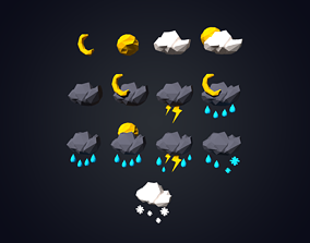 3D model Weather Forecast Icons