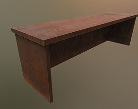 PBR Old Wooden Desk 3D asset