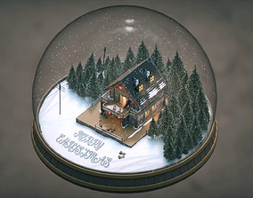 Christmas Cabin in the Snowy Woods 3D model