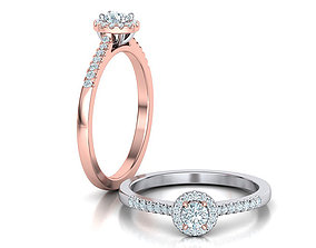 Halo Engagement ring Classic design 3dmodel