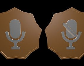 Low poly logo microphone 3D asset