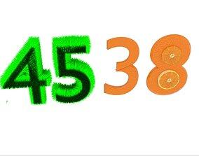 Number Grass Orange 3D model