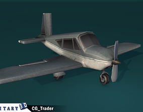 lowpoly military toon aircraft 3d model realtime