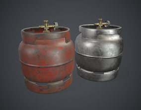 3D asset Portable LPG Gas Tank 1 PBR Game Ready