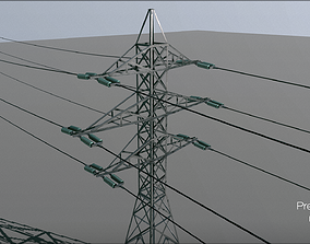 PowerLine Tower - PBR texture - Mid poly 3D