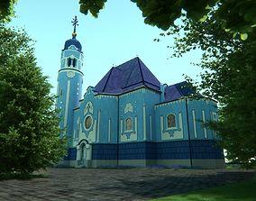 3D Blue church Bratislava interior