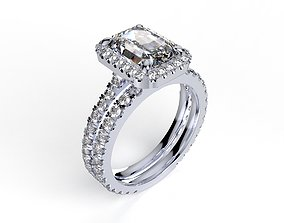 Bridal Set Engagement Ring With Shadow Band Model- CC95
