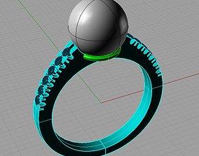 Pearl Engagement Ring classic Wedding 3D print model 3