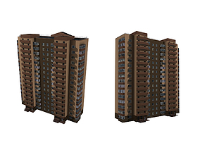 3D model multi-storey brick residential building
