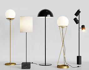 CB2 5 Floor Lamps Set 2 3D