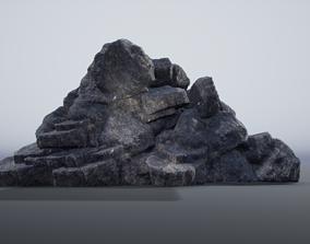 Rock cliff 3D model low-poly