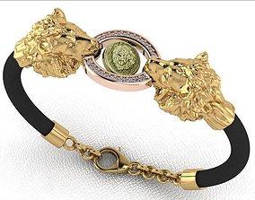 3D printable model man skin bracelet jewelry lion