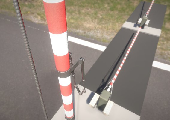 Low-Poly Railroad Barrier 8m