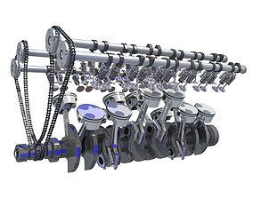 V12 Engine Cylinders Animation 3D model