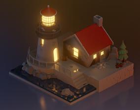 3D model blender lowpoly lighthouse