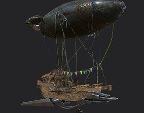 Steampunk AirShip Low-poly 3D model PBR VR / AR ready 2