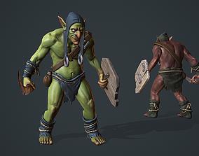 Goblin 3D model animated VR / AR ready green