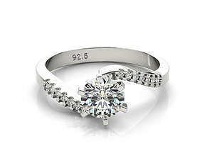 3d cad jewelry design gold and silver engagement ring 1