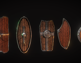 Low poly Shield package 3D asset