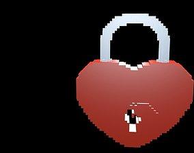 3D Lock heart voxel 1