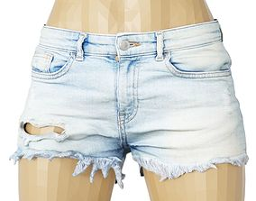 Shorts Jeans Light Blue Ripped Hole Clothing 3D asset 1
