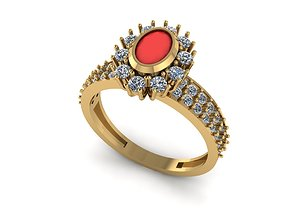 3D printable model ring 7 jewel