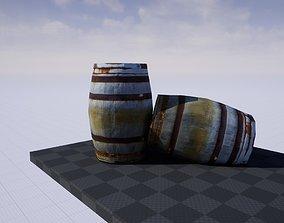 Low Poly Wooden Barrel 3D asset