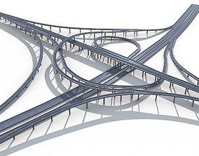 Highway Road Viaduct Flyover-07 3D model