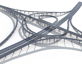 Highway Road Viaduct Flyover-07 3D model