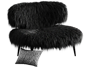 Woolly Bella Armhair Black by Videre Licet 3D model