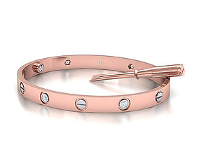 Oval Classic Woman Bracelet Two Tone Metal 3dmodel