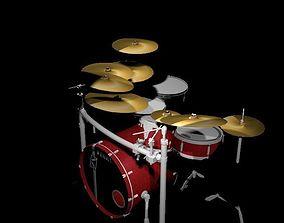 Tama Red Drum Set 3D