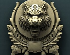Tiger head medallion 3d stl model for cnc