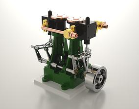 3D model Twin cylinder steam engine