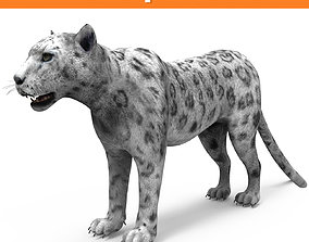 low-poly Game ready White Leopard 3D