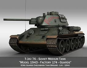 3D T-34-76 - Model 1943 - Soviet medium tank - Guards