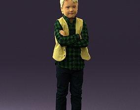 Kid in plaid green tshirt 0611 3D Print Ready