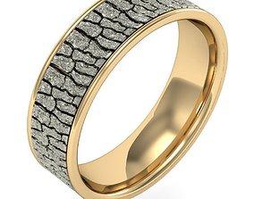 3D printable model tree bark texture wedding ring