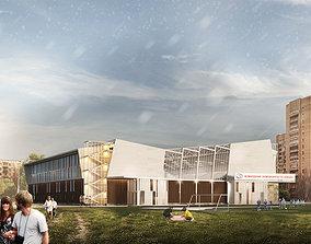 Sport Center whith football field 3D