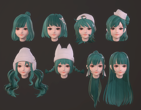 3D asset cartoon hair style girl