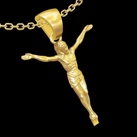 Cross Sculpture medallion statue sculpture pendant jewelry gold 3D print model