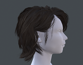 Low poly hair 3D asset realtime