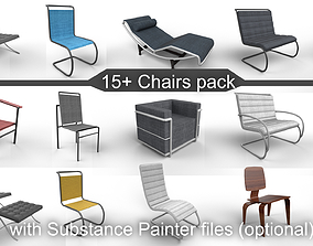 15 plus Chairs pack with optional Substance 3D asset 1