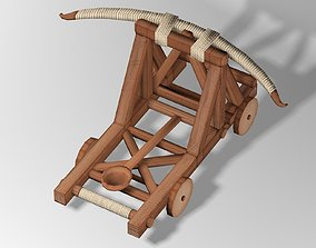 3D asset animated Medieval Catapult