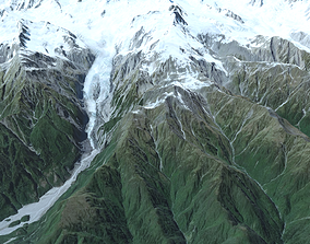 Mountain landscape Southern Alps New Zealand 3D